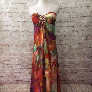 CACHE Strapless Dress Bandeau Waterfall Drape Gem